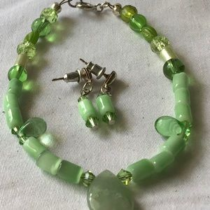 OOAK, hand crafted jade and cats eye set